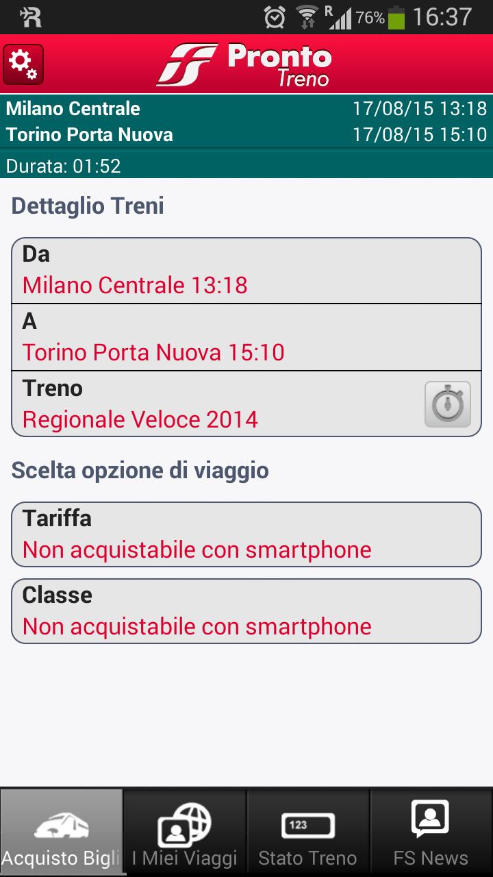 Screenshot prontotreno app - Non acquistabile via smartphone