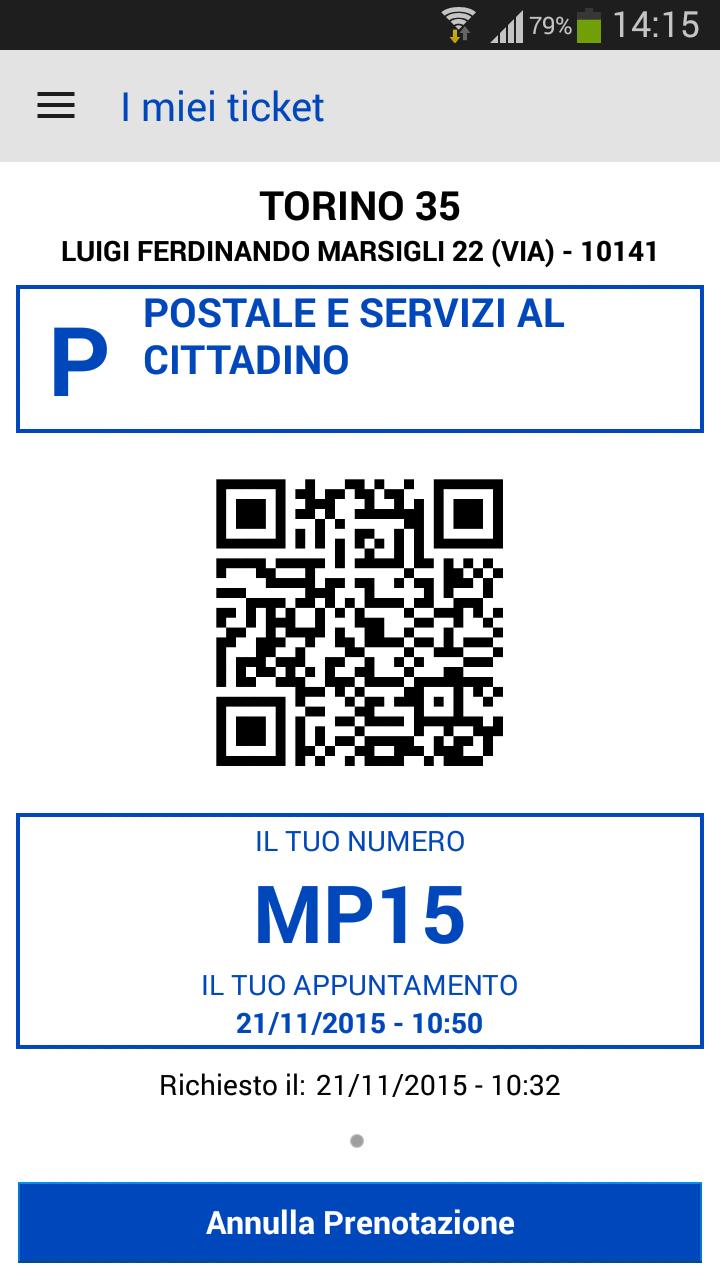 Ticket virtuale rilasciato da App Ufficio Postale