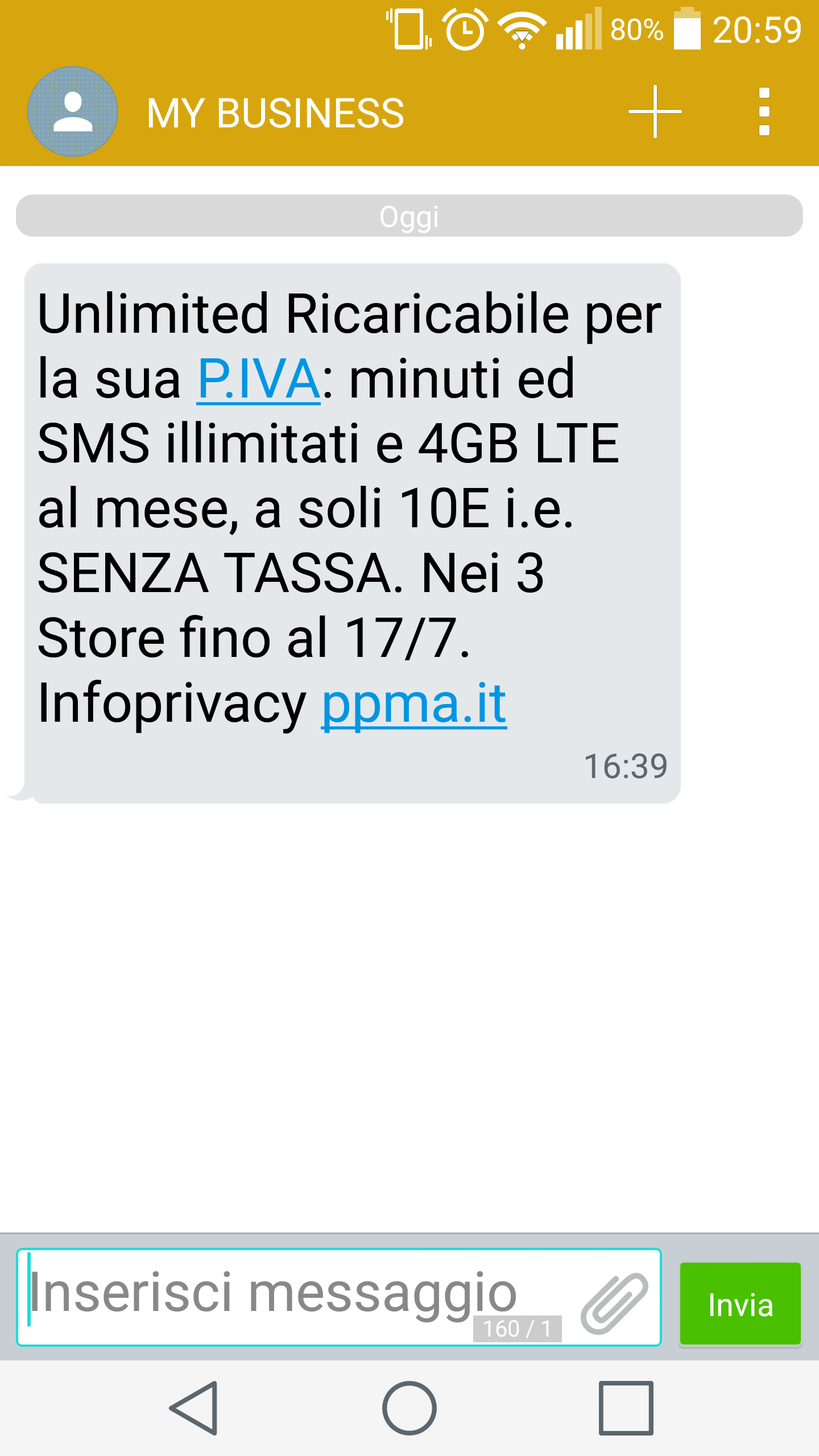 Spam message from ppma.it